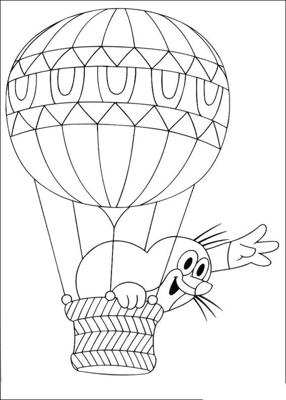 luchtballon kleurplaat thema in de lucht