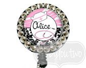 Name Badge Reel Holder Retractable ID Badge -  Nurse Bling Rhinestones -  Personalized with your Name Swarovski Crystals