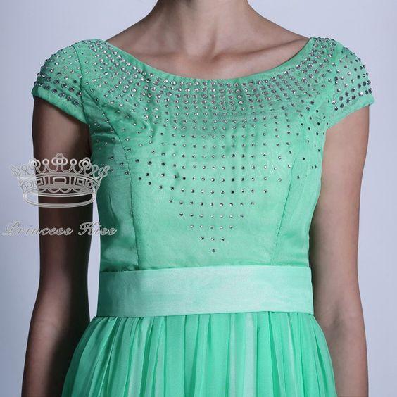New Arrival Short Sleeves Jewel Green Crystal Long Formal Bridesmaid Dresses Fashion 2014 PK30935
