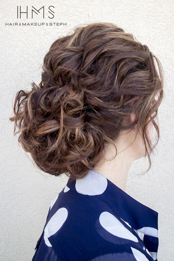Relaxed wave, loose bun bridal hair. #weddinghair #bridal hair #updo: