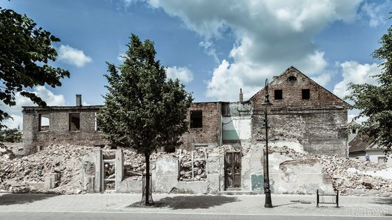 Ruined house in the center of Wloclawek city, Poland