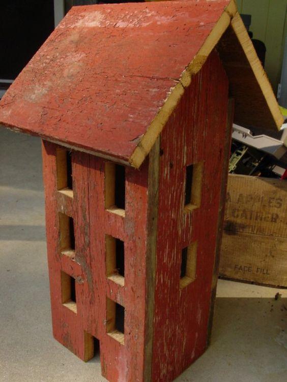 Primitive Barn Wood Folk Art Lighted Salt Box House