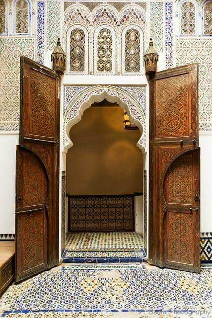 Door of the Upper Courtyard at Dar Jamaï Museum, Meknės, Morocco. Photo by Beum Gallery.