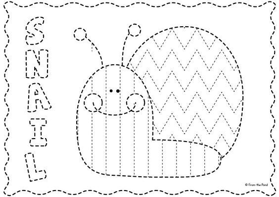 FREE Big Shape Tracing Snail Page Handwriting Patterns