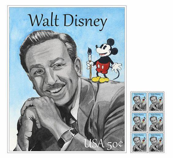 Walt Disney watercolor postage stamp #disney #waltdisney