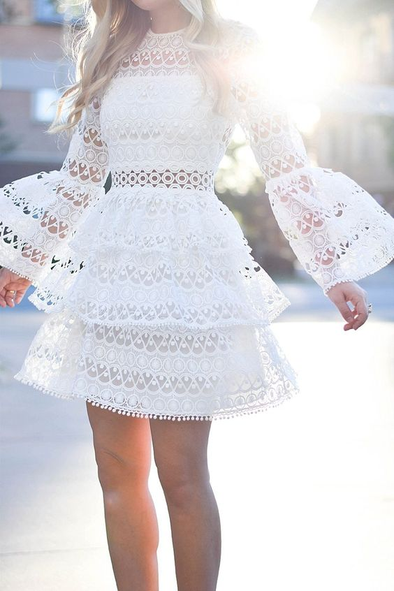 """White Lace Alexis Dress, Lace Dress, Shop Alexis, Shopbop Alexis, Neiman Marcus Alexis, Bell sleeves, white lace, Chanel Bag, Valentino Shoes, Valentino Sandals, White Valentino Rockstuds, Le Specs Sunglasses, Nordstrom Sunglasses, Dallas Blogger, Alexis Dress"" #clothes#design#style"