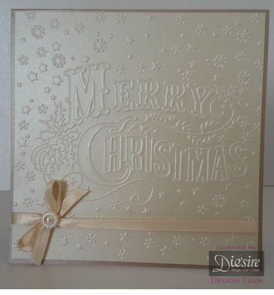 Crafters Companion Vintage Christmas Collection Merry Christmas folder and Centura pearl ivory