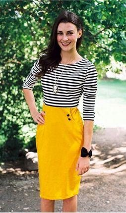 Yellow And Black Skirt