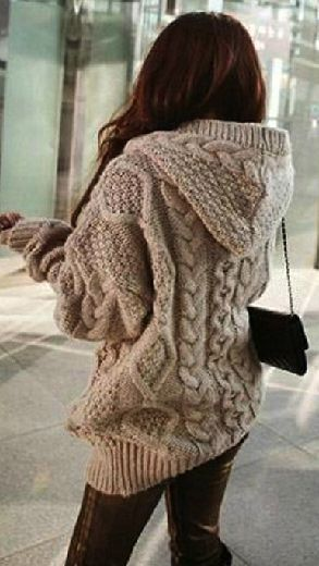 Knitting Pattern For Long Sweater Coat : Loose Knit Cardigan Sweater Jacket Cable, Winter and Knit cardigan