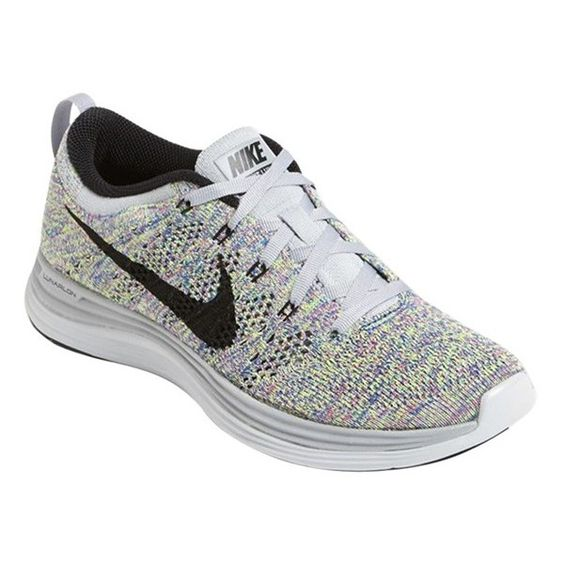 Nike 'Flyknit Lunar1+' Running Shoe (Women) ($160) ❤ liked on Polyvore featuring shoes, athletic shoes, nike footwear, flyknit shoes, nike, running shoes and rubber sole shoes