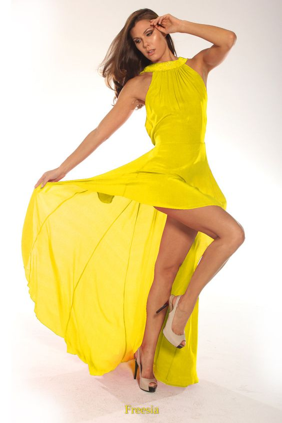 Shahida Parides Sunflower Yellow Dress  High End Designer Resort ...