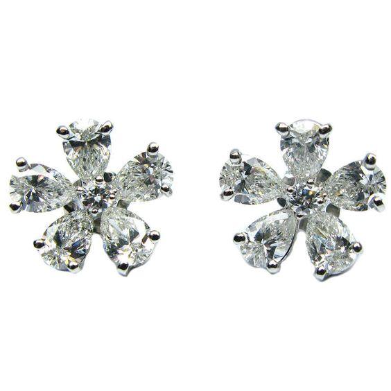 Flower Design Diamond Earrings #jbirnbach