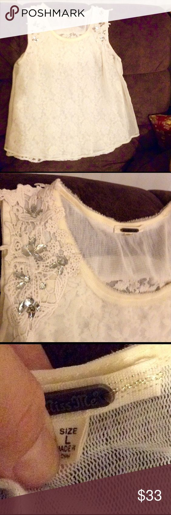 Beautiful Miss Me top Miss me new top beautiful ivory lace imbedded on inside with rindstone on shoulder beautiful top could be worn to any occasion only worn once miss Me Tops