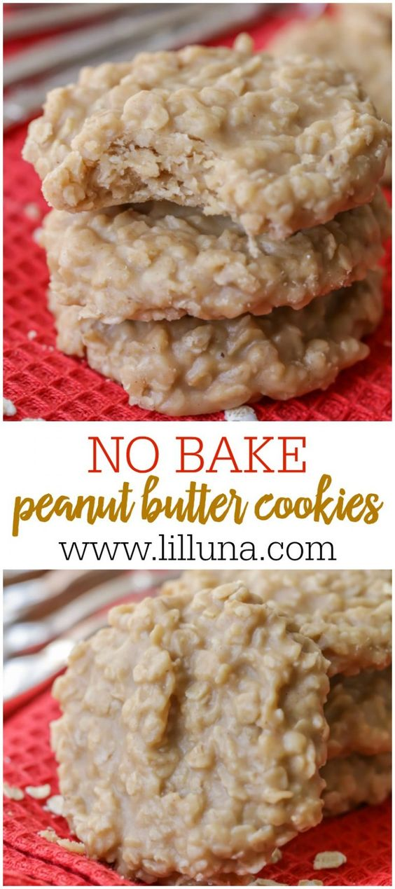 No Bake Peanut Butter Cookies combined to cookie classics - No Bake Cookies + Peanut Butter Cookies. The combo of the two make a delicious, simple cookie recipe that is perfect for anyone who loves peanut butter treats.