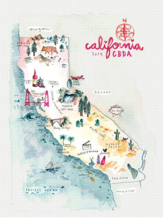 California Travel Map - Carte Illustrée pour un road trip en Californie.