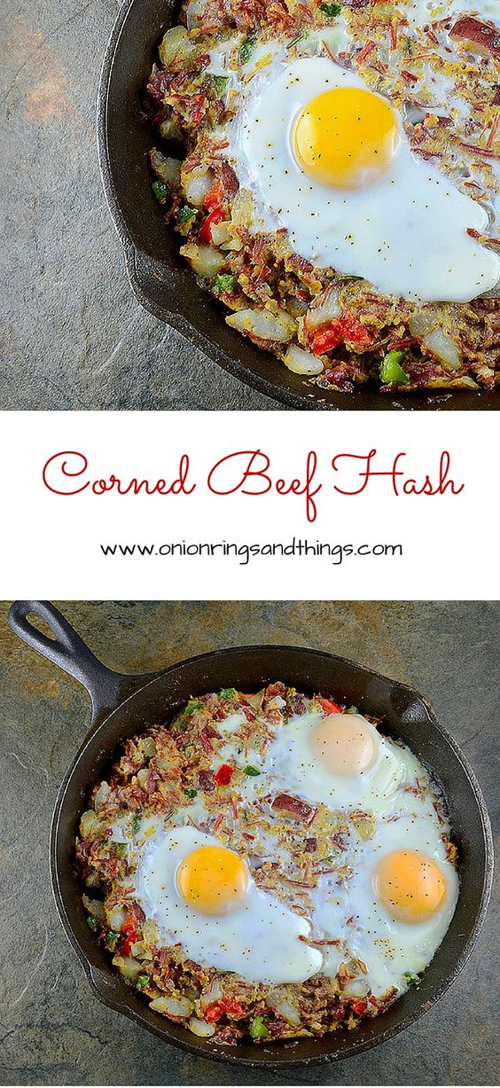 Corned Beef Hash is a delicious breakfast made with corned beef scraps, potatoes, bell peppers and eggs