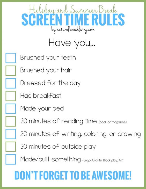 Holiday and Summer Rules for Screen Time, Free Printable, Manage ...