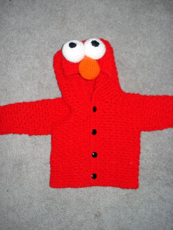 Elmo Knitting Pattern : Elmo Sweater Pattern - Cardigan With Buttons