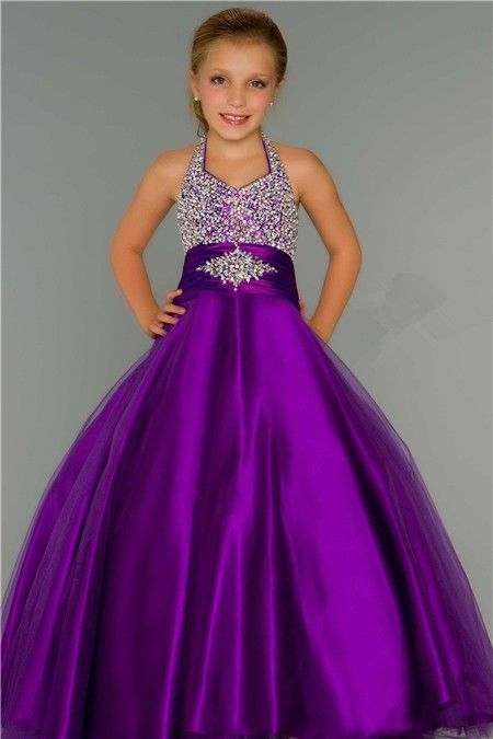 purple pageant dresses for girls | ... Ball Gown Halter Purple Tulle Beading Flower Girl Party Prom Dress