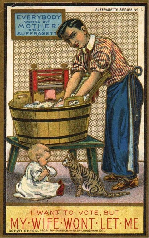 These Posters Were Ones Of Many That Were Made In The Uk In The Early 1900s In 1897 When The Women Suffrage Movement Wa Suffragette Anti Suffrage Laundry Art
