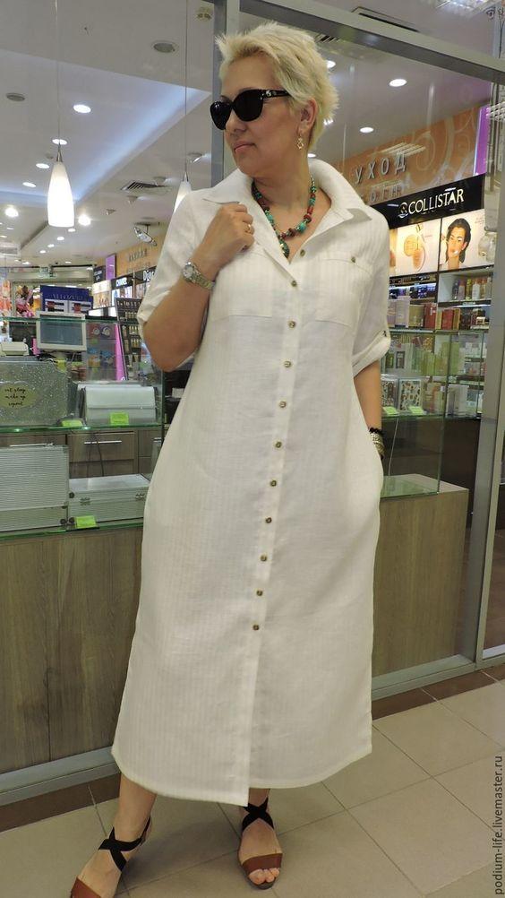 Платье рубашка .Льняное платье - купить или заказать в интернет-магазине на Ярмарке Мастеров | Огромной популярностью пользуются платья-рубашки…