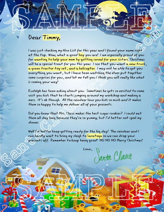 Sample Letters From Santa Claus | letter-from-santa-to-boy-sample.jpg