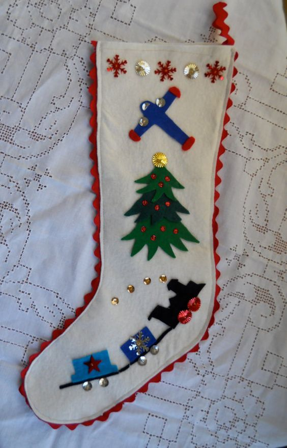 Handmade Christmas Felt And Sequin Stocking Hung By The