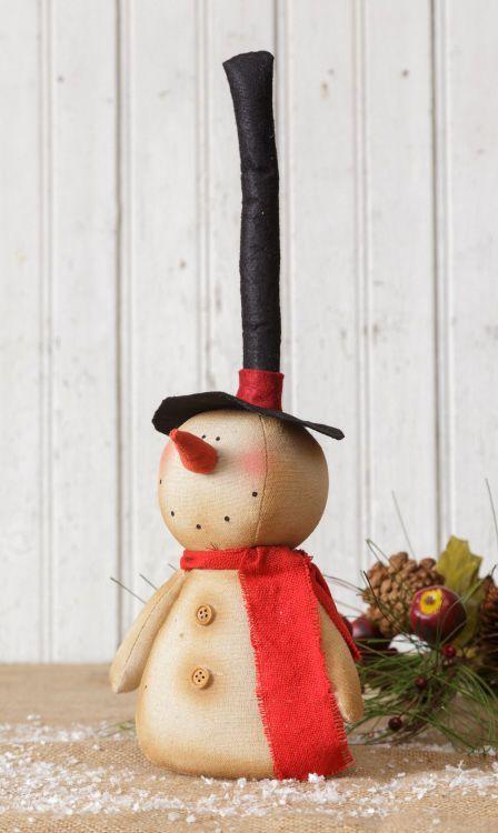 Primitive decor long top Hat SNOWMAN sitter / nice winter decor