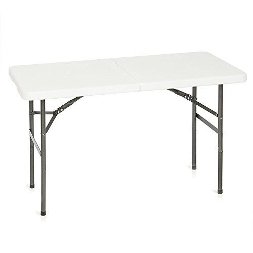 Folding White Table 4ft Portable Plastic Rubber Outdoor Indoor