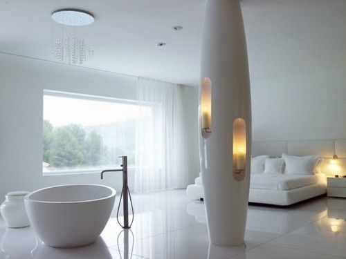 white luxury bedroom design in luxury futuristic villa casa son vida by tec architecture & marcel wanders studio