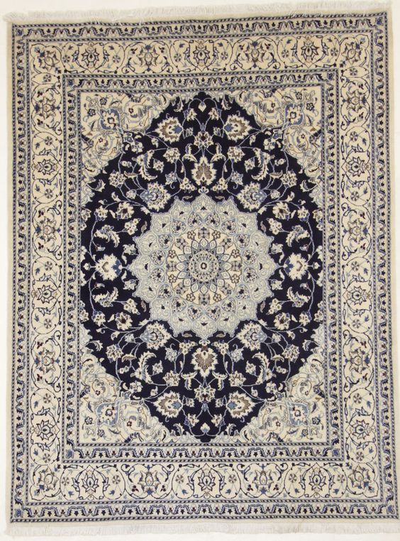 Nain Perser carpet with silk oriental rug 255 x 196 cm ,orientteppich Tapis