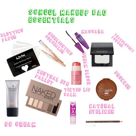 """""""School Makeup Bag Essentials"""" by nawsfashion on Polyvore."""