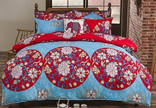 3pc-Blue-Red-Oriental-Boho-Bohemian-Floral-Duvet-Cover-Set-King-Bed-Size-Bedding