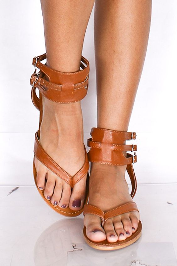 $8 TAN FAUX LEATHER THONG SIDE BUCKLE SANDALS