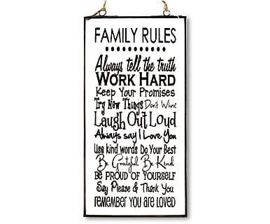 Wand-Schild Family Rules, 15 x 30 cm