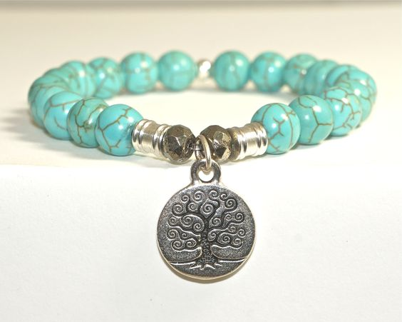 HANDCRAFTED! TURQUOISE SEMI-PRECIOUS STONE BRACELET WITH TREE OF LIFE CHARM ONLY $49.99 AND FREE SHIPPING ON 1ST ORDER!  WWW.ETSY.COM/SHOP/TIFFANYJAZELLE