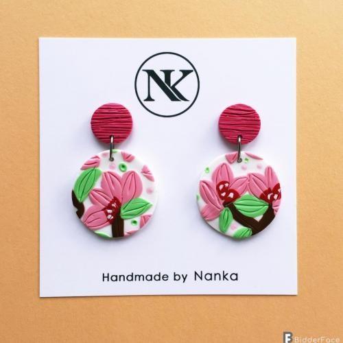 handmade polymer clay earrings spring flowers collection joyeria de porcelana joyas joyeria