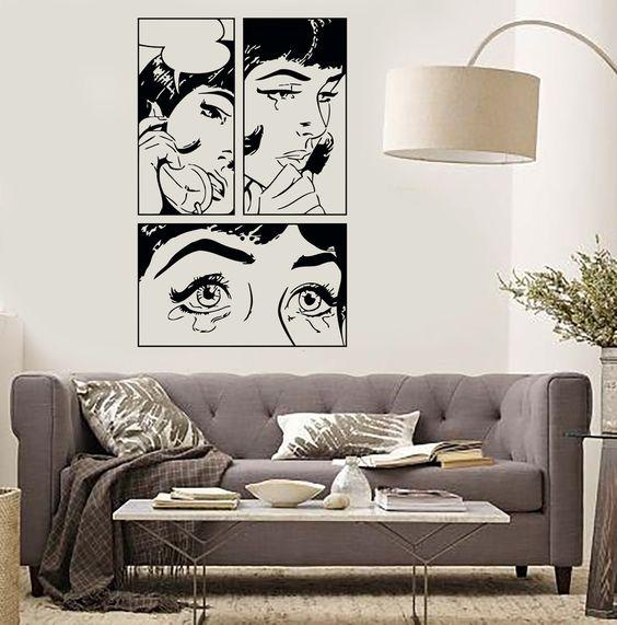 Wall Sticker Sexy Girl Woman Teen Crying Cool Pop Art