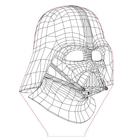 Darth Vader Set 3d Illusion Lamp Plan Vector File For Laser And Cnc 3bee Studio 3d Illusions 3d Illusion Lamp Illusions