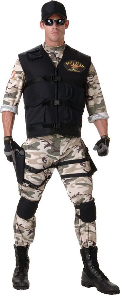 Mens seal team deluxe adult halloween costume xl size 48 50 transform yourself into the the worlds best serviceman with this seal costume clear any party task and make it your mission to have fun in thw military solutioingenieria Gallery