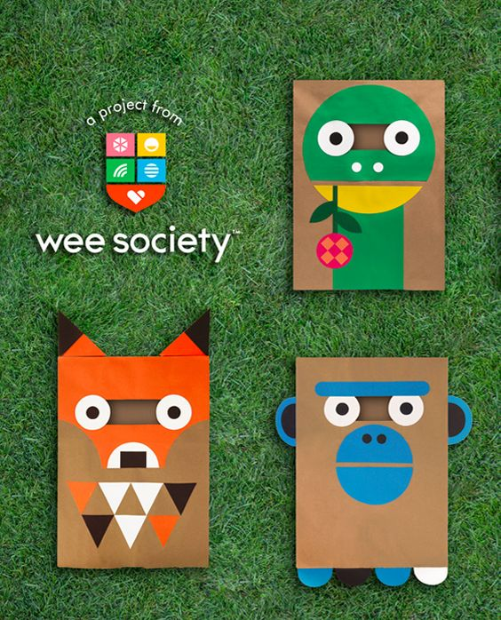 Dinosaur, Fox, Monkey. DIY Paper Bag Costumes from Wee Society.