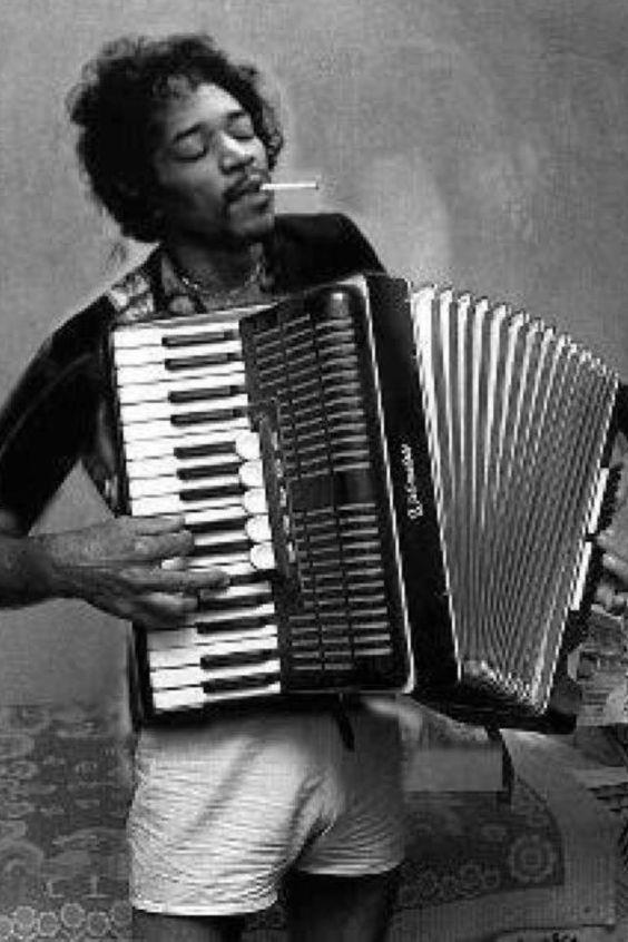 Jimi Hendrix plays the piano accordion.