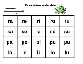Formar palabras con las silabas