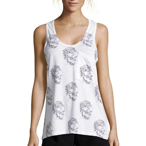 Wyatt White And Grey Skull Print Stretch Knit Racerback Tank... ($49) ❤ liked on Polyvore featuring tops, racerback tank top, grey racerback tank, grey tank, sleeveless tops and white tank top