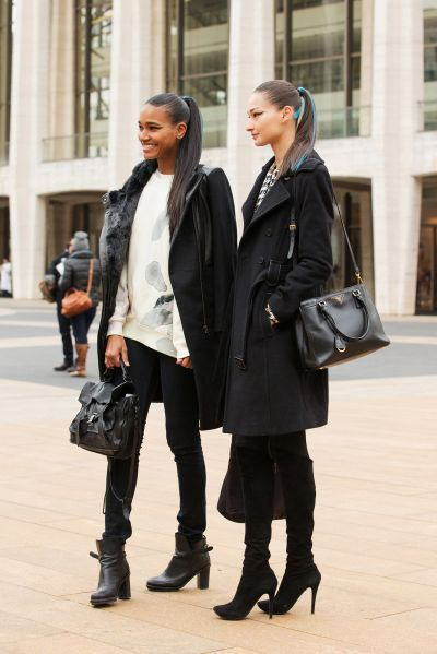 These models look so chic in their casual outfits and sleek pony tails!