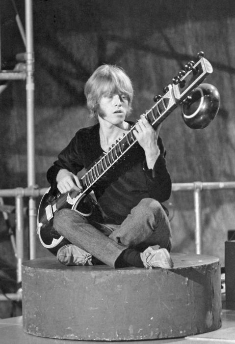 """Brian Jones playing the sitar. His sitar playing really sounds amazing on """"Paint It Black."""""""