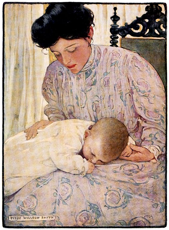"""""""First the Infant in It's Mother's Arms"""", Illustration by Jessie Willcox Smith (1905)."""