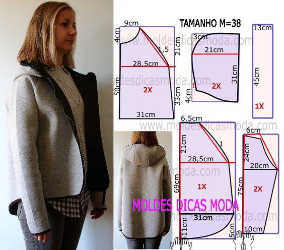 O molde de casaco desportivo foi por mim testado e encontra-se no tamanho M que corresponde ao 38 em Portugal e 40 no Brasil.