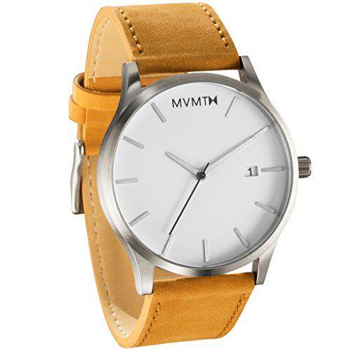 MVMT Herren Armbanduhr, Weißes Zifferblatt, mit braunem Lederband - http://kameras-kaufen.de/mvmt/mvmt-herren-armbanduhr-weisses-zifferblatt-mit