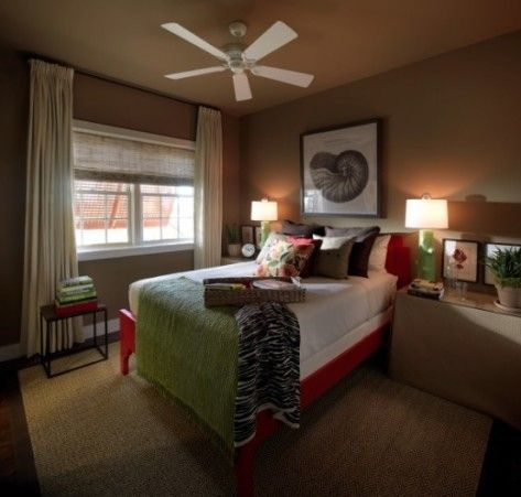 Brown Bedroom Idea: like the pop of green and red!